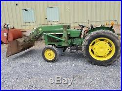 1968 John Deere 820 tractor 37 loader 32 hp diesel 2WD utility compact used JD