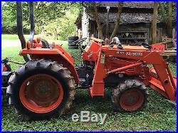 1994 Kubota L2350DT 4WD Tractor LB400 Bucket with Bushhog & Tiller 400 hours