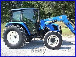 1 OWNER 2005 NEW HOLLAND TL100 A CAB+LOADER+4X4 WITH DELUXE CAB+ALL OPTIONS