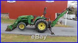 2001 John Deere 4500 4x4 Compact Tractor Loader Backhoe 39hp Diesel Power Revers