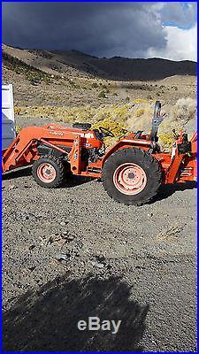 2008 Kubota L4400DT-F 4x4 with Backhoe and Loader 38Hrs