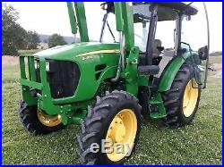 2012 4x4 JOHN DEERE 5083E Cab Loader Tractor pre-emmision 83hp used 570 hours