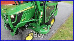 2014 JOHN DEERE 1025R 4X4 COMPACT TRACTOR With CAB LOADER & MOWER HYDRO 117 HOURS