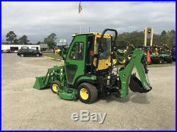 2015 John Deere 4X4 1025R Utility Tractor, Backhoe, Diesel, Cutting Deck, Cab
