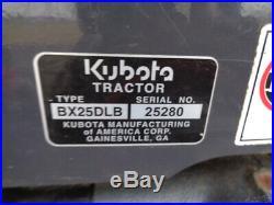 2015 Kubota BX25D Tractor, 4WD, Hydro, Loader, Backhoe, 60in Belly Mower