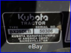 2016 Kubota BX25D Tractor/Loader/Backhoe, 4WD, Hydro, 60in Belly Mower, 533 Hrs