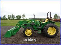 2018 John Deere 5075E Tractor, 4WD, JD 520M Loader, Power Reverser, ONLY 68 HRS