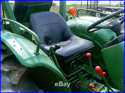 4WD John Deere 950 Tractor w\ Front End Loader, Backhoe and tri-axle Trailer