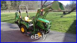 JOHN DEERE 1023E 4X4 COMPACT TRACTOR With LOADER BELLY MOWER & BACKHOE 138 HOURS