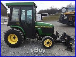 John Deere 4300 4x4 Tractor Enclosed Cab Snow Plow And Snow Blower