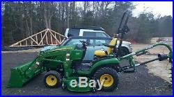 John Deere 1025R Diesel Tractor, 40 Hrs, 60 Mower Deck, Loader & 9 Auger