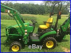 John Deere 1025R Diesel Tractor, 49Hrs, 4x4, Hydro, Loader & Backhoe, Excellent