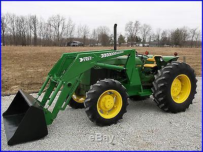 John Deere 2555 Tractor & Frey Front Hydraulic Loader Diesel Nice 4x4