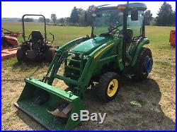 John Deere 3320 Cab 4WD Diesel Utility Farm Tractor with Front Loader Heat & A/C