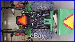 John Deere 4310, 72 mid mount mower, 60 bucket, ballast box, 48 forks