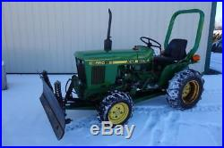 John Deere 650 Compact Tractor WithSnow Blade, 424 Hours, 4X4, 16 HP Yanmar Diesel