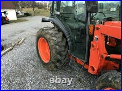 KUBOTA L3430HST CAB TRACTOR With LOADER. HYDRO. 1593 HRS. RUNS GREAT. QUICK ATTACH