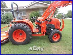 L4701D Kubota 4wd Tractor/Loader/ NEW Trailer/ BushHog/ Boxblade/Tiedowns
