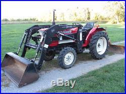 Yanmar Ym2220d Diesel Compact 4x4 4wd 27hp Loader Blade Brush Hog Mower 3pt Pto